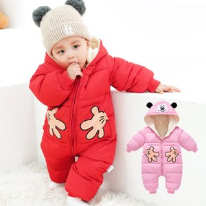 Olekid autunno autunno inverno pagliaccetti cartoon cartoon plus velluto neonato tuta toddler ragazza tuta da neonato snowsuit toddler cappotto 201028