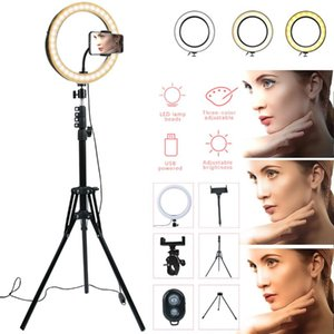 10 Inch Photography LED Ring Lamp Dimmable Selfie Ring Light with Tripod Phone Holder For Youtube Video Shooting Live Makeup
