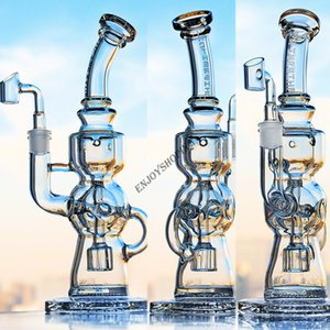 Clear Glass Bongs Fab Egg Perc Dab Rig Water Pipe with 14 mm joint Banger Hookah Showerhead Perc Thich Base Bongs