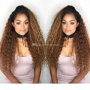 1B 30# Kinky Curly Ombre Full Lace Wigs Human Hair Two Tone With Baby Hair Glueless Full Lace Wigs Brazilian For Women