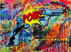 Mr Brainwash Banksy Home Decor graffiti art The Gun Handpainted &HD Print Oil Painting On Canvas Wall Art Canvas Pictures ER05