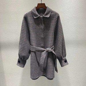 Autumn winter new women's retro houndstooth lapel waist wide loose woolen wool jacket coat