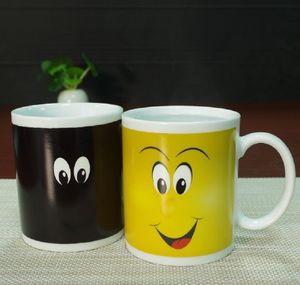 Eco-Friendly Smile Temperature Sensing Color Changing Mug Magical Chameleon Coffee Mug Milk Tea Cup Novelty Gifts 330ml sea ship FWE2505
