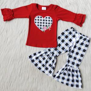 أزياء الطفل بنات مصمم الملابس عيد الحب التطريز الفتيات بوتيك جرس أسفل ملابس بالجملة ملابس الأطفال الساخن بيع RTS