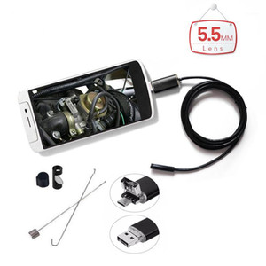 AN99 2in1 Endoscope camere 5.5mm 6LED Waterproof Endoscopy USB Inspection Borescope Camera with Soft Cable for Android Phone PC1