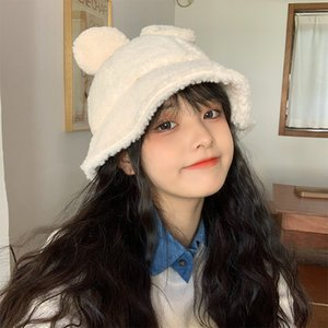 Designer Bucket Hat Winter Women Thickened Artificial Fluffy Plush Ears Cute Letter Embroidery Designer Adjustable Rope Fashion 2020