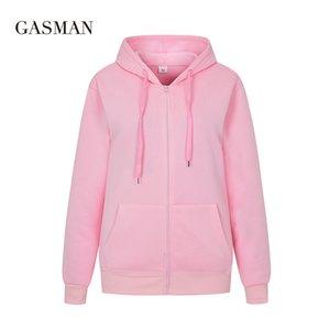 Gasman outono sólido manga comprida hoodies mulheres zíper inverno inverno feminino casual bolso com capuz moletom