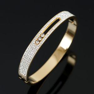 Bangle Luxury CZ Кристалл из нержавеющей стали Женщины браслет горный хрусталь скольжения для женской свадебной партии Band Bandband ювелирные изделия подарок