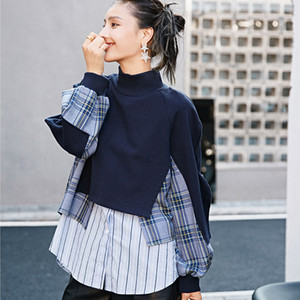 LANMREM new navy blue plaid patchwork stand collar casual loose Korean style sweatershirt autumn fashion tide for women 2A1236 Y1116