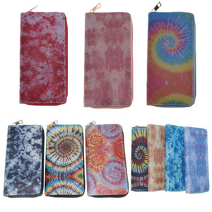 Fashion Tie Dye Long Wallets PU Leather Zipper Wallet Purses Unisex Credit Card Bag Gradient Big Capacity Handbag Elegent Notecase E112406