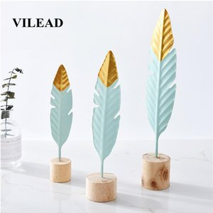 VILEAD 24cm 36cm Iron Feather Figurines Nordic Style Simple Creative Living Room Table Bedroom Home Decoration Set Shootin Hogar