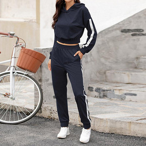 Autumn Women Two Pieces Set Hoodies + Full Pants Lady Set Casual Striped Letter Patchwork Female Fashion Streetwear Sets