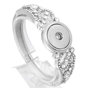 New Snap Bracelet DIY Charms Crystal Bracelets Bangles With Flower Fit 18mm Snap Buttons For Women Jewelry