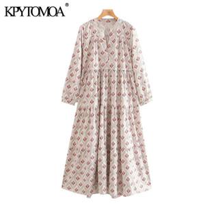 KPYTOMOA Women 2020 Chic Fashion Printed Pleated Midi Dress Vintage V Neck Long Sleeve Female Dresses Vestidos Mujer A1111