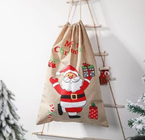 2021 Christmas decorations gifts sacks Printed linen gift bag Santa claus backpack large capacity candy bags Apple bag