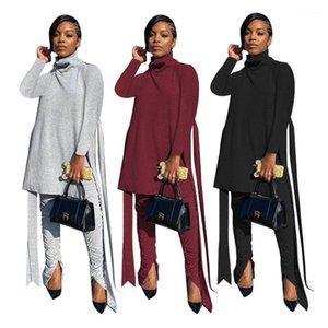 Осенний с длинным рукавом сплошной цвет высокой шеи половая полоса штабелированные брюки 2 шт. Набор модных женщин дизайнер трексуиты женщина 2 кусок наряд