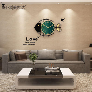 Meisd Decorative Clock Wall Hanging Watch Fish Designer Art Home Decor Quartz Room Horloge Silent Free Return Retornar New1