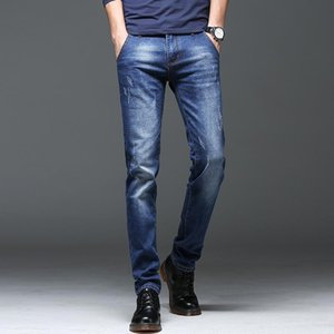 Men's Jeans Spring Winter 2020 New Warm Slim Fit Business Fashion Thicken Denim Trousers Black Blue Jeans Men
