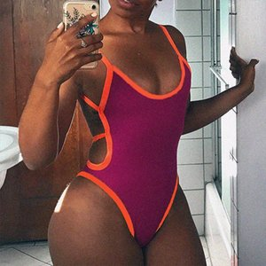 OMSJ 2019 New Hot Sexy Strap Backless Womens jumpsuits Hollow Out Women Bodysuits Fashion Color Blocking Slim Female Clothes