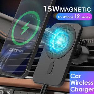 마그네틱 무선 자동차 충전기 마운트 스탠드 iphone12 프로 / 미니 / 최대 magsafe 15w 빠른 충전 무선 충전기 자동차 전화 홀더