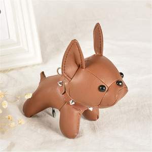 French Bulldog Bag Pendant Car Keychain Leather Purse Backpack Dog Car Key chains Couple Gift Doll Ornament 19 Colors