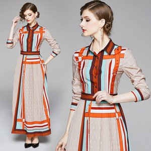 Womens Dress Long Sleeve Printed Pleated Maxi Dress Spring Autumn Long Dress High-end Lady Dresses