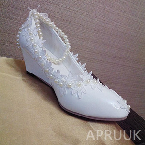 5CM heel wedged white lace ivory pearls wedding shoes bride middle heel shoes for woman handmade ladies party dress