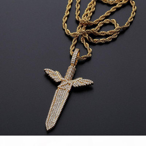 Hip Hop Jewelry Iced Out Pendant Mens Bling Diamond Angel Sword Luxury Designer Necklace Gold Chain Hiphop Rapper Accessories Fashion Charms