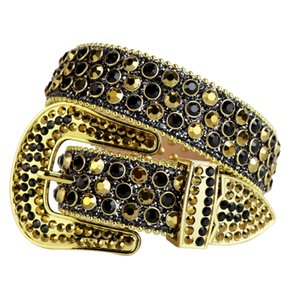Western Bling Bling Colorful Swarovski Crystal Gold & Black Rhinestone Belt Studded Belt Removable Buckle for men