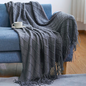 Moda Örme Kanepe Sıcak Battaniye Vintage Stil Sonbahar Kış Ev Battaniye Yetişkin Çocuklar için Basit Kişilik Rahat Battaniye