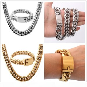 """16mm Cool Huge 316L Stainless Steel Silver Gold Tone Cuban Curb Chain Mens Boys Necklace 24""""&Bracelet Bangle 8.66"""" Jewelry1"""