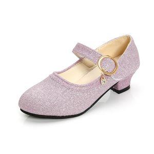 BEKAMILLE Scarpe in pelle per bambini per ragazze primavera autunno grandi ragazze scarpe tacchi alti paillettes moda paillettes solido scarpe da partito a colori 201113