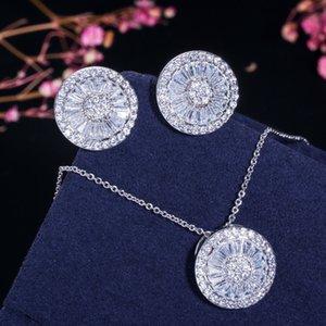 Cwwzzircons Top Quality CZ Crystal Women Fashion Jewellery Shiny redondo Cubic Zircon Collar y Pendiente Joyería Set T039 201215