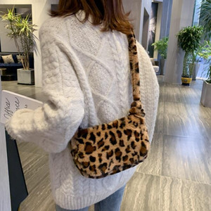 Leopard Print Fashion Women Messenger Shoulder Bag Plush Shopping purses Large Capacity Autumn Winter Fluffy Crossbody bag