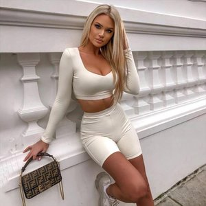 Spring Autumn 2 Piece Set Women Short Pant White Black Long Sleeve Crop Top Bodycon Active Wear Two Pieces Short Sets Womens