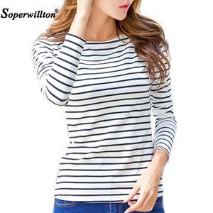 Soperwillton Cotton T-shirt Women 2020 New Autumn Long Sleeve O-Neck Striped Female T-Shirt White Casual Basic Classic Tops #620 A1112