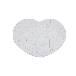 DIY Sublimation blank Jigsaw heart heat transfer blank Puzzle multi-standard wooden toys for children logo customization Paper puzzles A13
