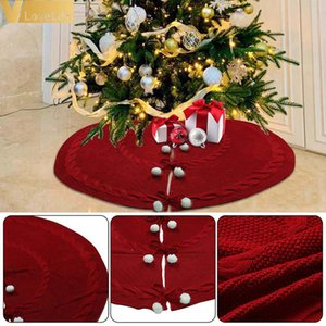 Christmas Tree Carpet Knitted Large Red Tree Skirts Merry Christmas Decoration for Home Tree Skirts New Year Decoration 50'' Z1128