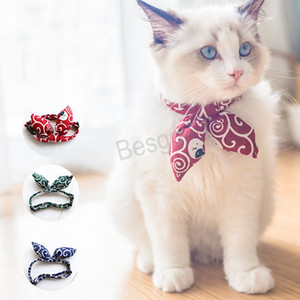 Small Cat Puppy Tie Collars Adjustable Cat Bowtie Collar Japanese Style Printed Cat Collar Traction Rope Accessories Dog Collar BH4423 TQQ
