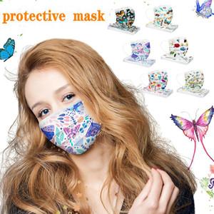 Luxo descartável Designer Face Masks Moda Impressão Máscara Retail Pacote Não-tecido Anti-Poeira Venda Quente de Alta Qualidade HWC3927