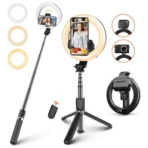 "Wireless Bluetooth Selfie Stick Tripod with Ring Light,6.3"" Foldable Dimmable Ringlight with Bluetooth Remote for YouTube Live Stream Photo"