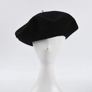 2020 Gölge Yüksek Kaliteli Yün Büyük Bere Şapkalar Kadınlar Için Katı Siyah Fransız Şapka Vintage Ressam Şapka Bayanlar Fedoras Düz Caps Toptan B034