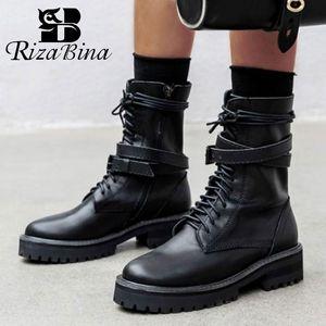RIZABINA New Women Knee High Boots Genuine Leather Motorcycle Boots Cross Strap Buckle Round Toe Women Footwear Size 34-40