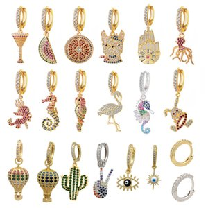 Pendientes de anillo pequeño QMHJE-1, ojos de cz Materiales, globos, flamenco, caballito de mar, perro, sandía, pulpo, loro, limón, arco iris,