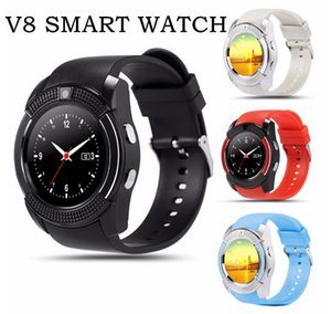 DHL V8 Smart Watches Bluetooth SmartWatch Pantalla táctil Reloj de pulsera Cámara SIM Tarjeta Slot Reloj inteligente impermeable DZ09 X6 M2 A1 SmartBand