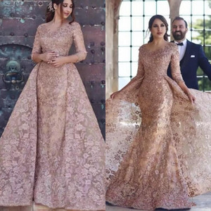 Dubai Arabic 2019 Modern Mermaid Prom Dresses Sexy Long Sleeves Full Lace Appliques Elegant Formal Party Evening Dress With Overskirt