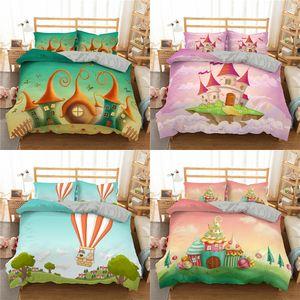 Homesky Cartoon Castle Bedding Set Hot Air Balloon Duvet Cover Queen King Size Bed Linens 3D Print Children's Beddingset Z1126