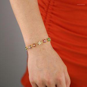 Altın Gümüş Renk Kırmızı Yeşil Mavi CZ Asfalt Çiçek Charm Bilezikler Bileklik Bağlantı Gökkuşağı Zirkon Taş Moda Tenis Zinciri Jewelry1