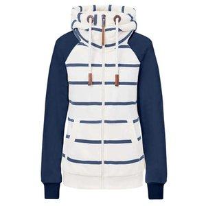 Women Scarf Hoodies Thick Stripe Print Zip Up Hooded Long Sleeve Kangaroo Pocket Loose Coat Winter Warm Soft Full Hoodie Moletom