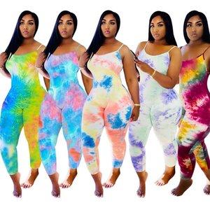 Tie Dye Sling Pajama Designer Mulheres Jumpsuit Onesies Sem Mangas Playsuits Verão Macacões Plus Size Calças Mulheres Roupas 215 K2